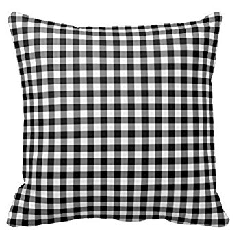 P072 - BLACK AND WHITE CHECKERED CUSHION R10 each to hire QUANTITY: 2