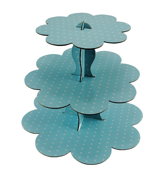 P026 - BLUE POLKA DOT CUPCAKE STAND R20 to hire