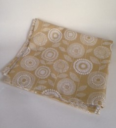 beige floral tablecloth
