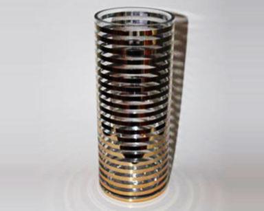 KZN004 &#8211; Gold stripe vase<br/>(R30 each to hire)