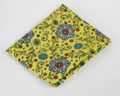 KZN021 &#8211; Yellow and blue floral runner <br/>(R20 to hire)