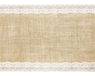 KZN050 – HESSIAN AND LACE RUNNER (R25 to hire)