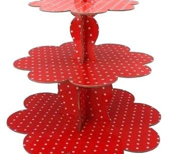 KZN062 – RED AND WHITE POLKA DOT CUPCAKE STAND (R25 to hire)