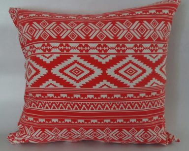 KZN082 – CORAL AZTEC CUSHION (R20 each to hire)