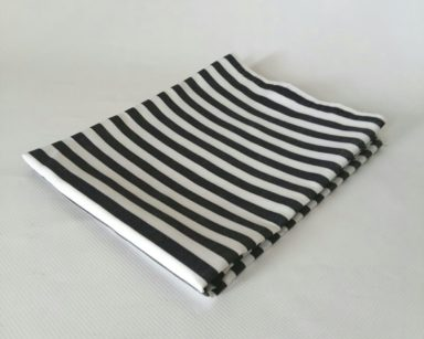 GP026 – BLACK AND WHITE STRIPE TABLECLOTH (R40 each to hire)