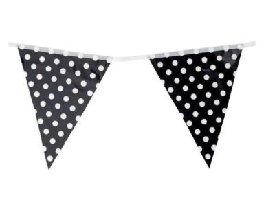 GP029 – BLACK AND WHITE POLKA DOT BUNTING (R45 to hire)