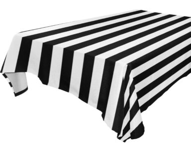 GP025 – BLACK AND WHITE STRIPE TABLECLOTH (R40 each to hire)