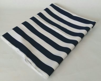 KZN090 – NAVY AND WHITE STRIPE OVERLAY (R35 each to hire)